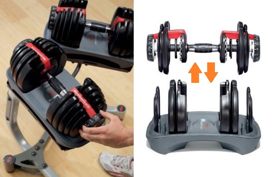 Change the dumbbell's weight with just the turn of a dial