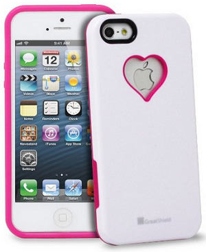GreatShield RADIANT Series Heart Shape Valentines Day Case for Apple iPhone 5, 5S (Pink and White)