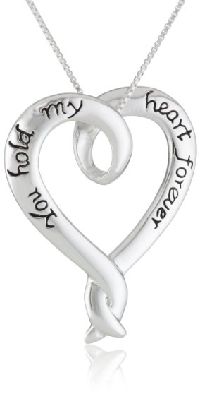 Sterling Silver You Hold My Heart Forever Open Heart Pendant Necklace  18-inch