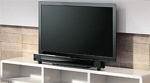 YAS-101BL can be placed on TV shelf, easily and save space