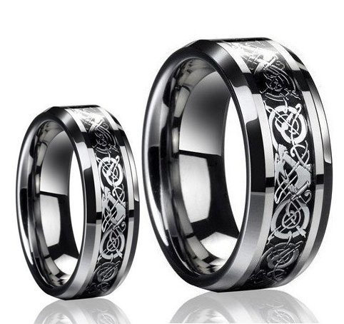 Dragon Design Tungsten Carbide Wedding Band Ring Set For Fiance Valentines Days Gifts