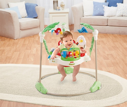 Jumperoo's comfortable rotating seat provides a safe place for baby
