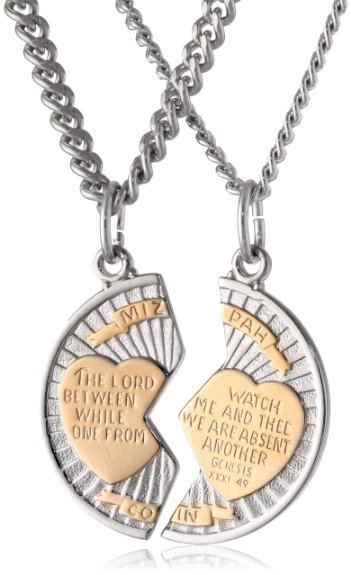 Sterling Silver Mizpah Medal Necklace Fiance Valentines Days Gifts