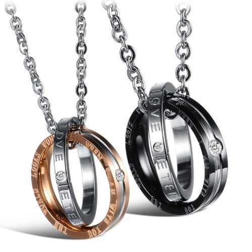 Titanium Stainless Steel Couple Pendant Necklace Korean Love Style Fiance Gifts