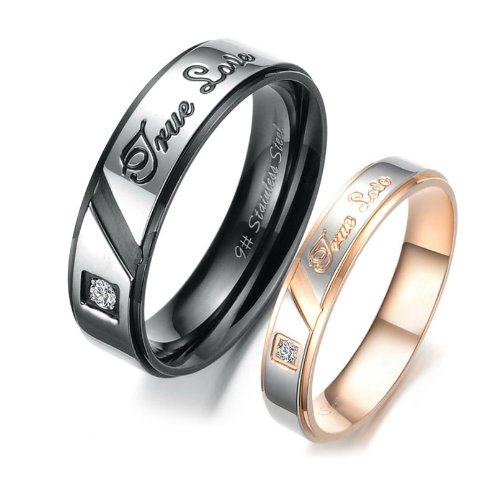 True Love Engraved Couple Rings Fiance Day of Love Gifts