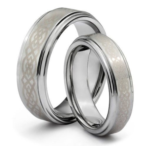 Tungsten Carbide Wedding Band Ring Set for Fiancee Gifts