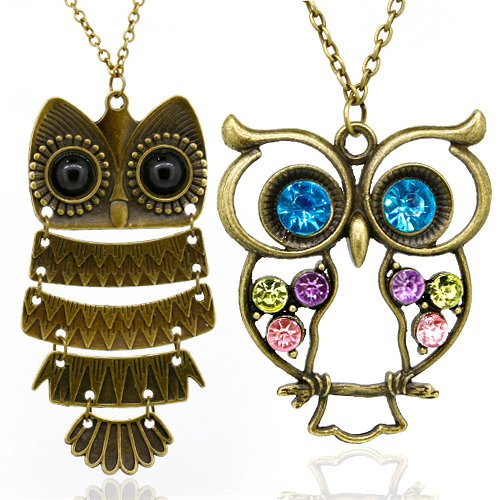 Vintage, Retro Colorful Crystal Owl Pendant and Long Chain Necklace Fiance Valentines Gifts