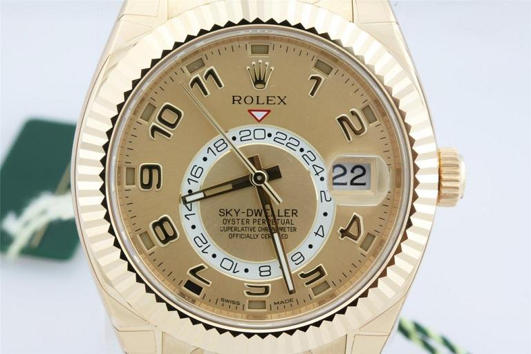 Rolex SkyDweller Champagne Dial GMT 18k Yellow Gold Mens Watch 326938CAO Reviews