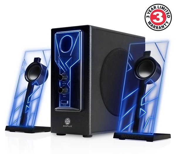 GOgroove BassPULSE Glowing Blue LED Premium 2.1 Computer Speaker Sound System