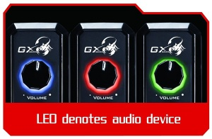 The volume knob have 3 beautiful LED colors for denote audio device