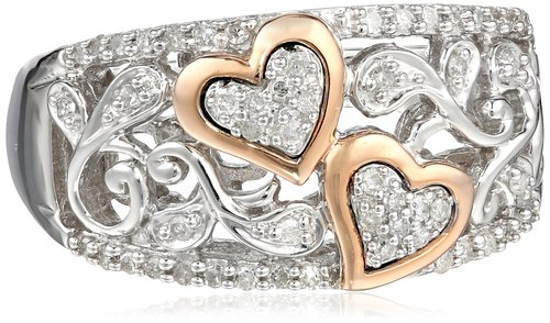 Sterling Silver and 14k Pink Gold Diamond Hearts Ring I2-I3 Clarity