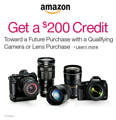 Get a 200 Dollars Credit CAMERAGIFT Toward a Future Purchase with a Qualifying Camera or Lens Purchase